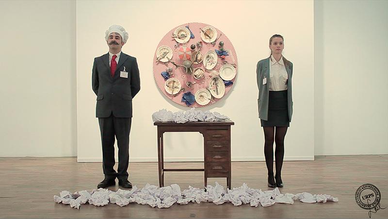 """Artista: Sabrina D'Alessandro, titolo: """"Parole Scilingue per Tableaux-Pieges"""" in """"EatArt in trasformation"""" di Daniel Spoerri, Galleria Civica di Modena, anno 2015, URPS, Ufficio Resurrezione Parole Smarrite, Dipartimento Rinascita Psicovocale"""